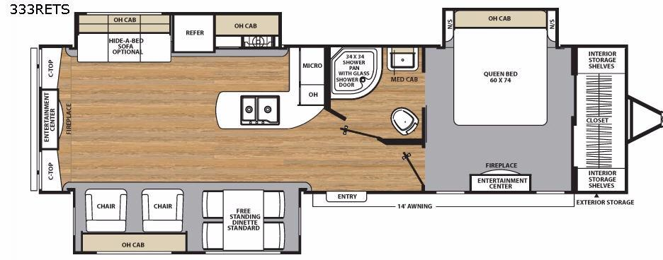 Floorplan - 2017 Catalina Legacy 333RETS Travel Trailer