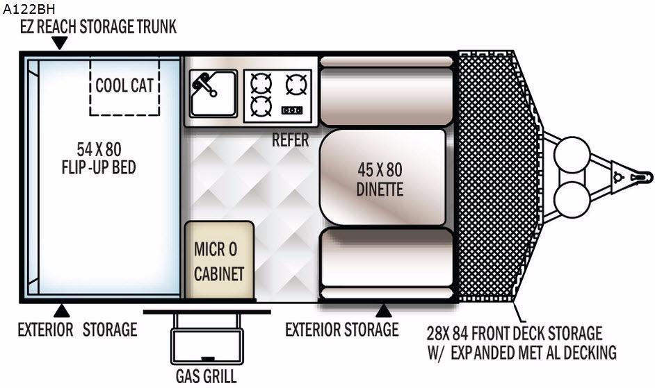 Rockwood Hard Side Series A122BH Floorplan Image