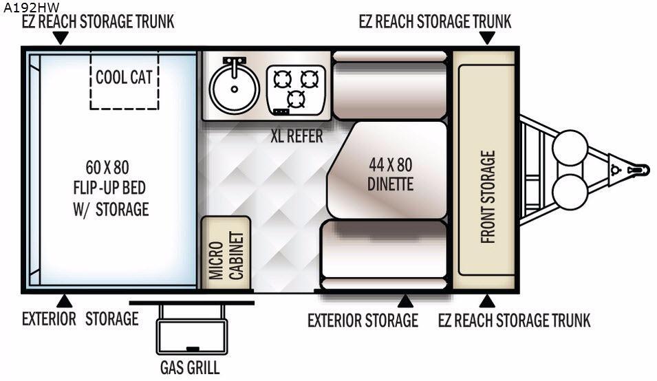 Rockwood Hard Side High Wall Series A192HW Floorplan Image