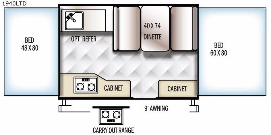 Rockwood Freedom Series 1940LTD Floorplan Image