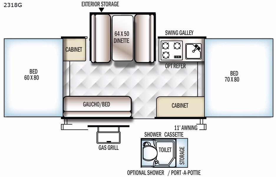 Rockwood Freedom Series 2318G Floorplan Image