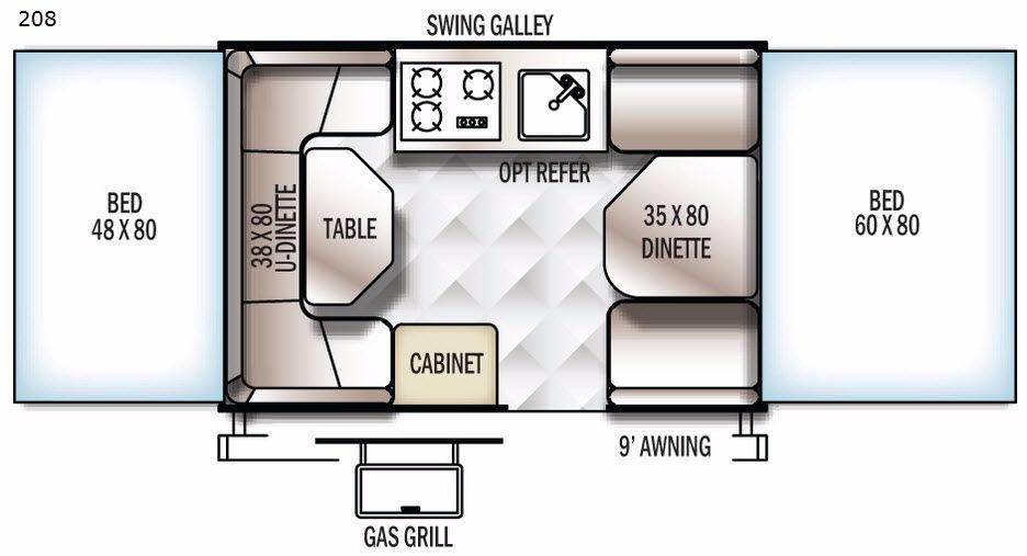 Floorplan - 2017 Flagstaff MACLTD Series 208 Folding Pop-Up Camper