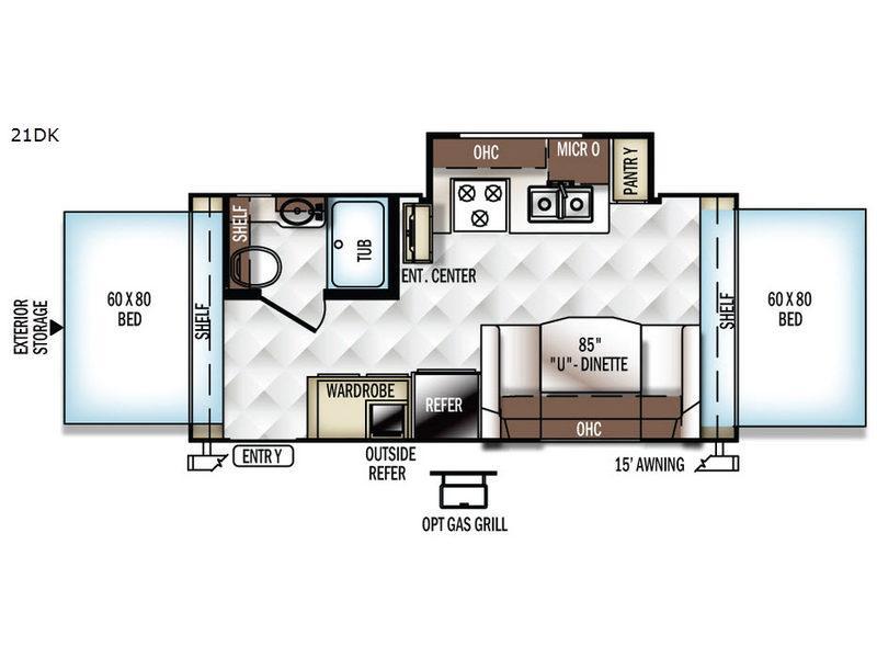 Rockwood Roo 21DK Floorplan Image