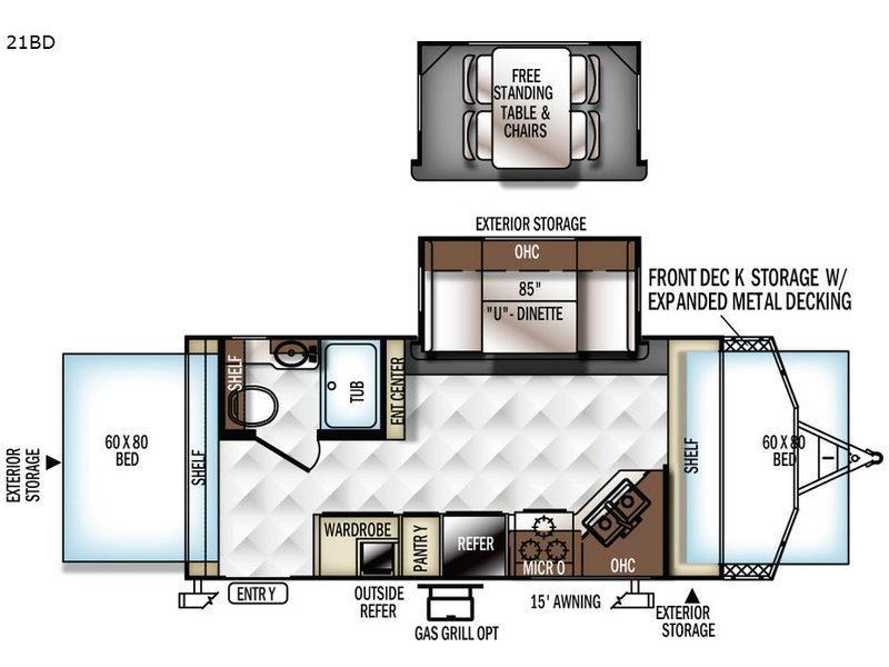 Rockwood Roo 21BD Floorplan Image