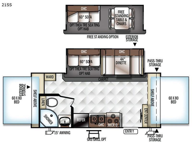Rockwood Roo 21SS Floorplan Image