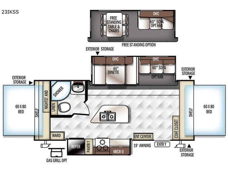Rockwood Roo 23IKSS Floorplan Image