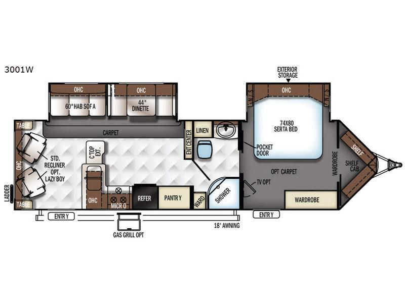 Rockwood Wind Jammer 3001W Floorplan Image