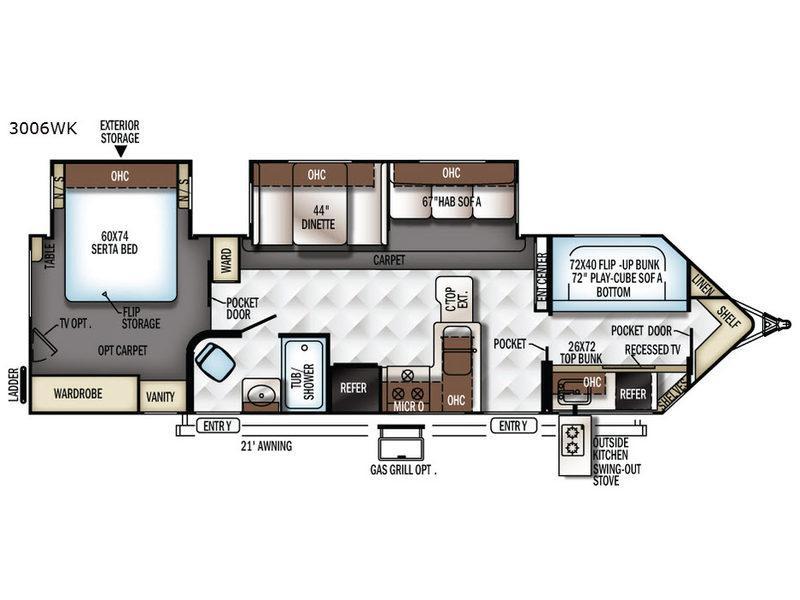 Rockwood Wind Jammer 3006WK Floorplan Image
