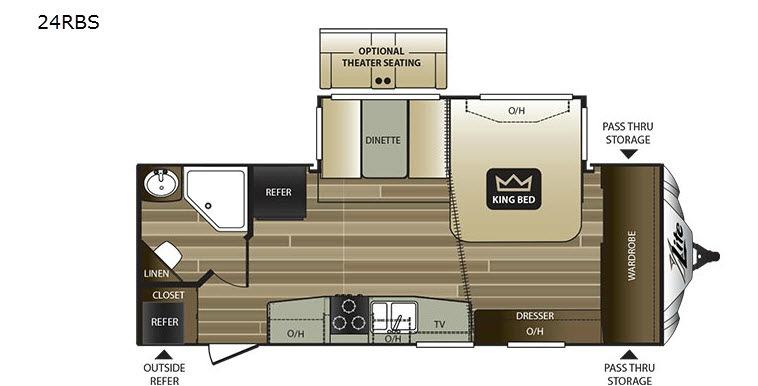 Cougar XLite 24RBS – Rear Bedroom Travel Trailer Floor Plans