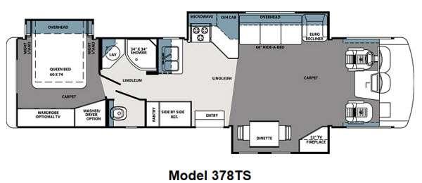 2013 Forest River RV Georgetown XL 378TSF Triple Slide Class A wRear Queen Bed wNightstands Slid