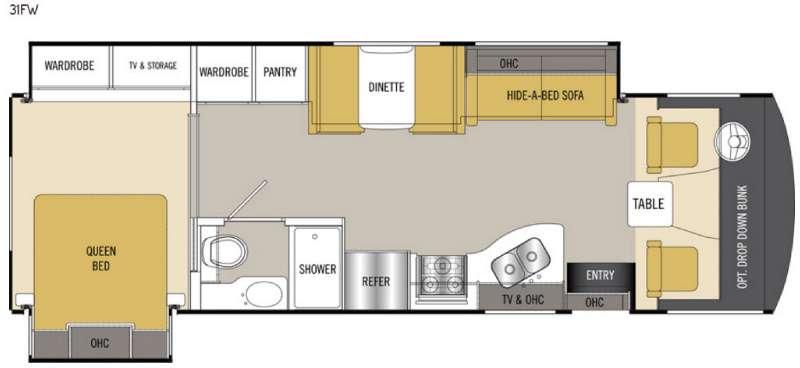2017 Coachmen RV Mirada 31FW This Coachmen Mirada class A gas motor home features a full wall slid
