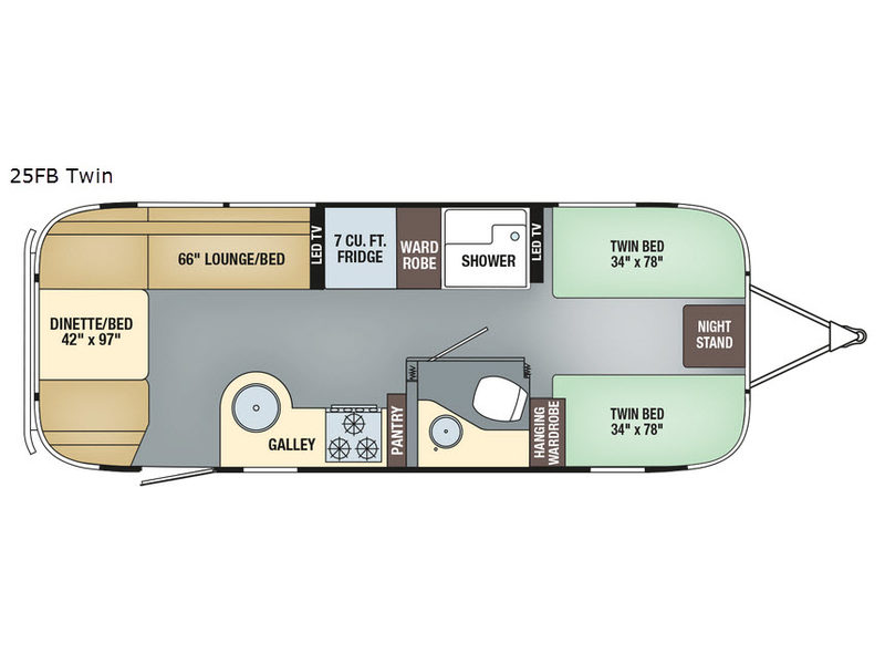 Airstream Travel Trailers Floor Plans | New 2019 Airstream Rv Flying Cloud 25fb Twin Travel Trailer At Bt
