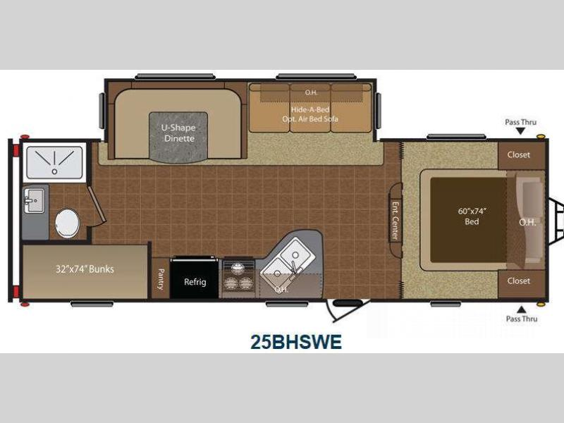 2014 Keystone RV Hideout 25BHSWE This Keystone Hideout offers comfortable sleeping for several pl