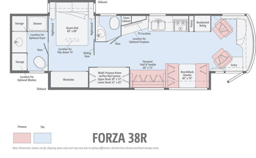 Winnebago Forza 38R Floorplan