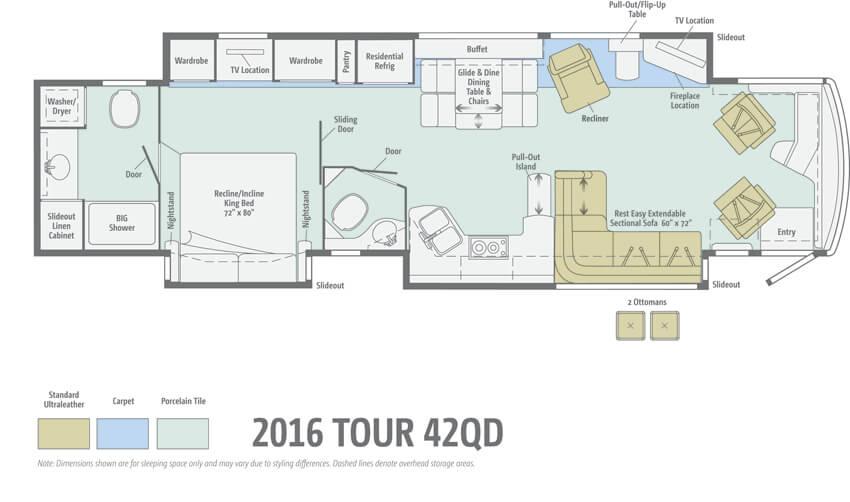 Winnebago Tour 42QD Floorplan