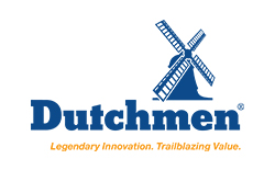 Dutchmen RV, picture of the dutchmen rv logo with a white background, picture of a blue wind mill that says duthmen and legendary innovation underneath