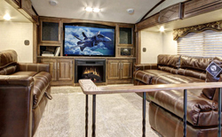 shop rvs with front living room, picture of a front living space in a keystone cougar fifth wheel, front living rvs