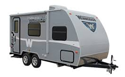 Winnebago Micro Minnie, picture of the exterior of a gray Winnebago Micro Minnie