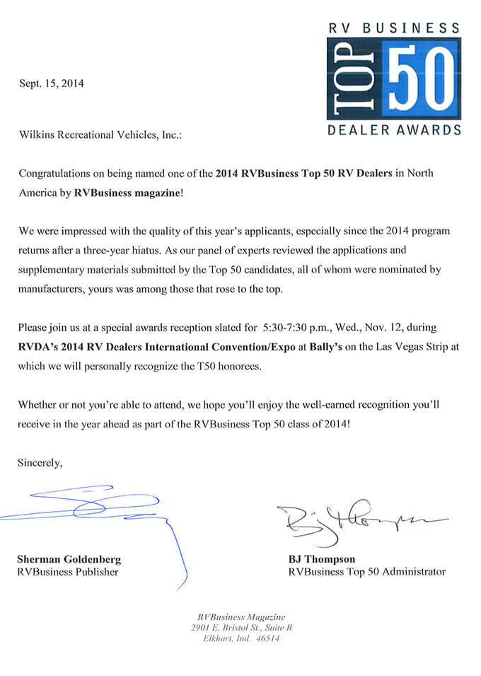 Top 50 Award Letter